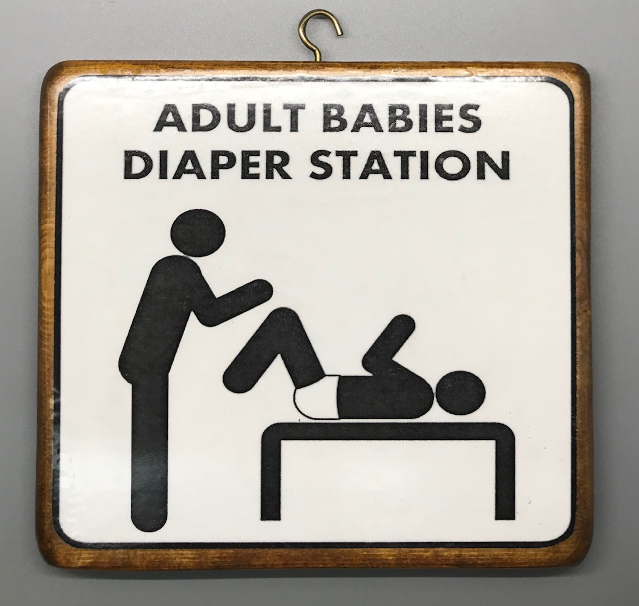 Adult Baby Diaper Station Plaque - Male Version