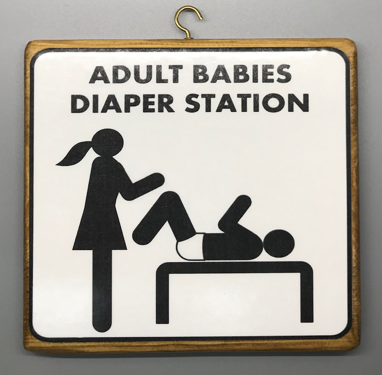 Adult Baby Diaper Station Plaque - Girl Version