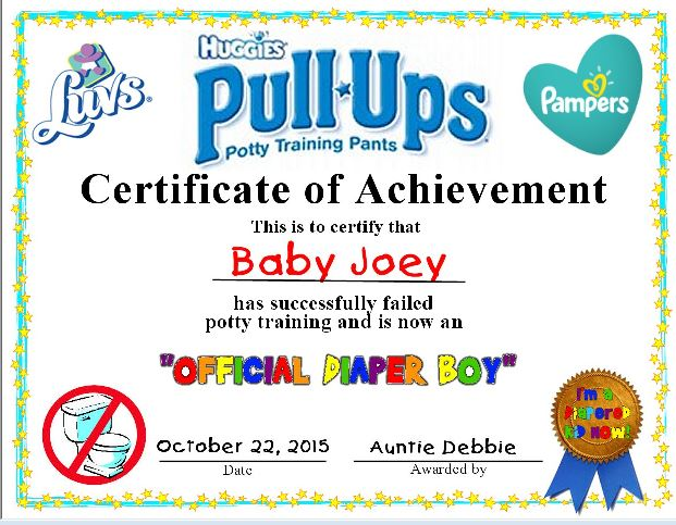 Failed Potty Training Certificate.